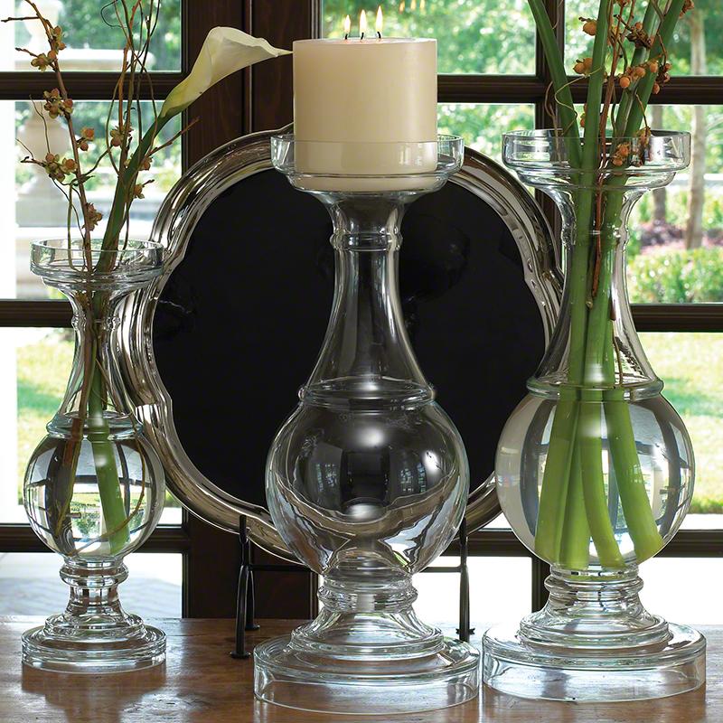 Global Views Vase: Global Views Glass Balustrade Candleholder Vase Small