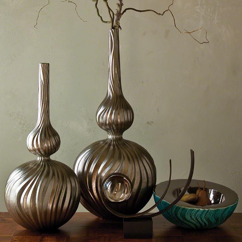 Global Views Vase: Global Views Magura Vase Metallic Medium