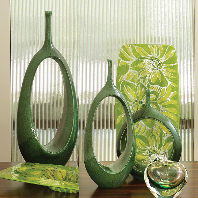 Global Views Vase: Global Views Open Oval Ring Vase Emerald Large