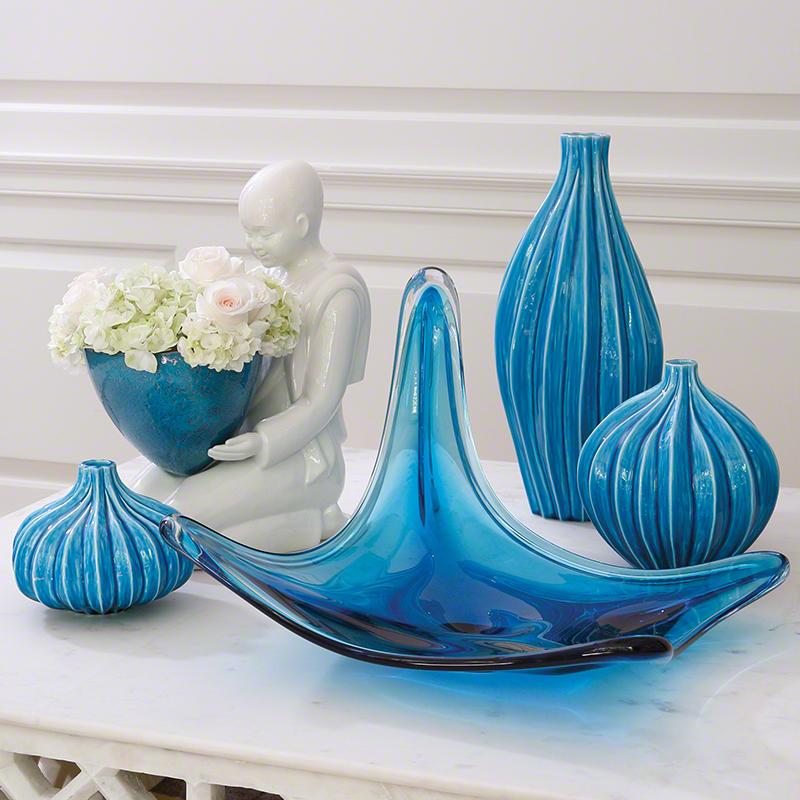 Global Views Vase: Global Views Squash Vase Aqua Large