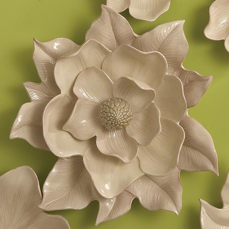 Ceramic Wall Flower Decor: Global Views Magnolia Wall Flower Ivory