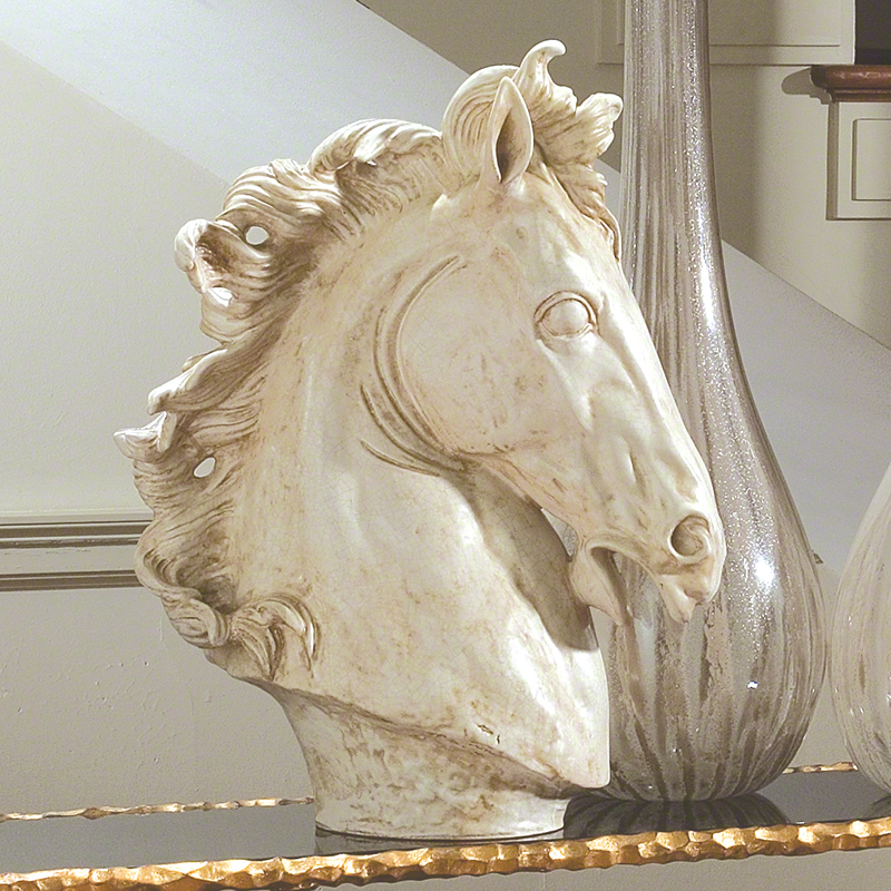 Global Views Large Horse Head Sculpture Marble Finish