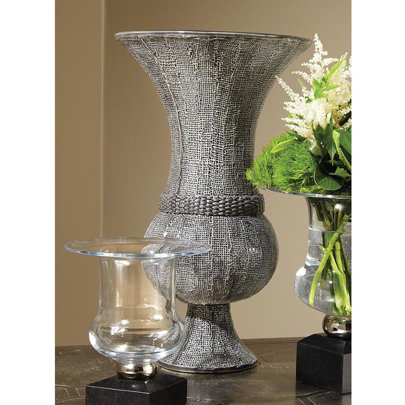 Global Views Vase: Global Views Woven Vase Grey