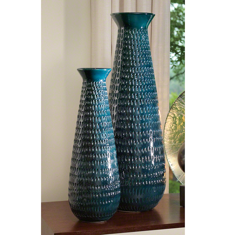 Global Views Vase: Global Views Tall Graffiti Vase Cobalt Large