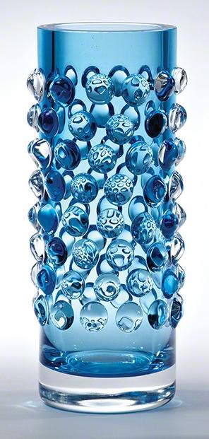 Global Views Bubble Cylinder Vase Cobalt