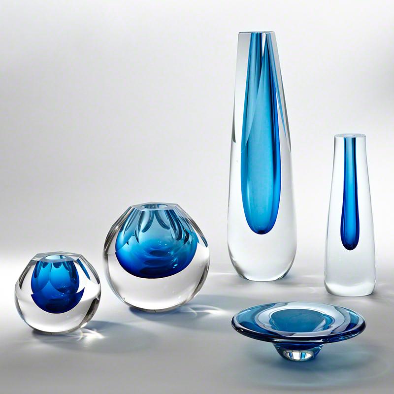 Global Views Vase: Global Views Hexagon Cut Glass Vase Cobalt