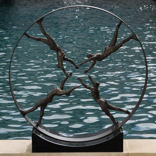 Global Views Metal Sculpture: Global Views Reaching For Center Sculpture