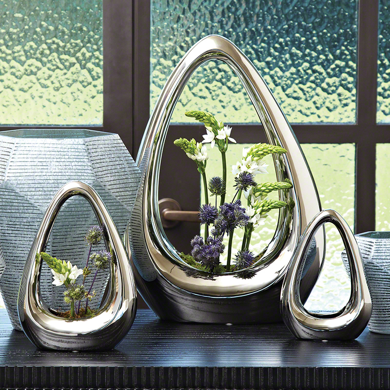 Global Views Floor Vases: Global Views Carry About Vase Silver Large