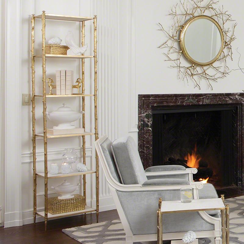Global Views Wall Shelf: Global Views Arbor Etagere Brass & White Marble