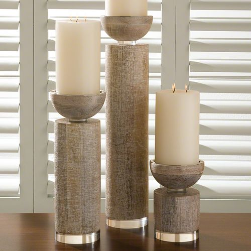 Global Views Scratched Pillar Candle Holder White Large