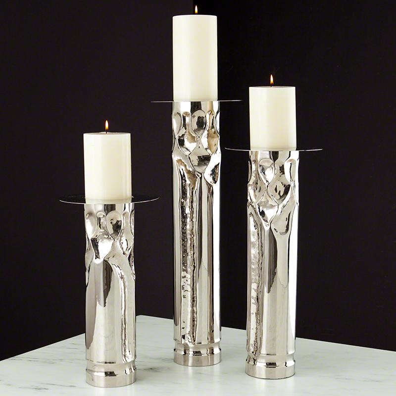 Global views arts crafts nickel candle holder medium for Candle holder crafts