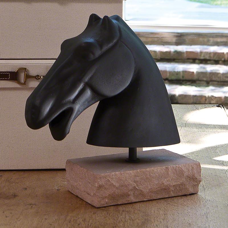 Global Views Metal Sculpture: Global Views Cast Iron Horse Head Sculpture