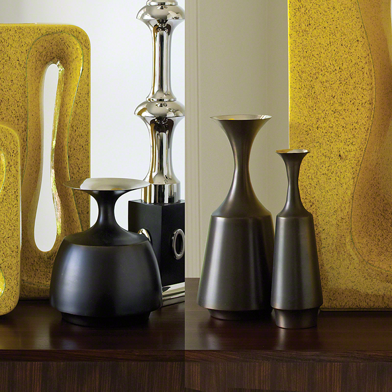 Global Views Vase: Global Views Collar Vase Bronze Nickel Wide