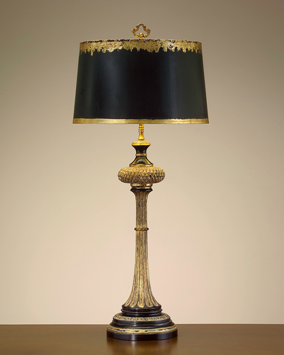 John Richard 36H Black And Gold Carved Wood Table Lamp