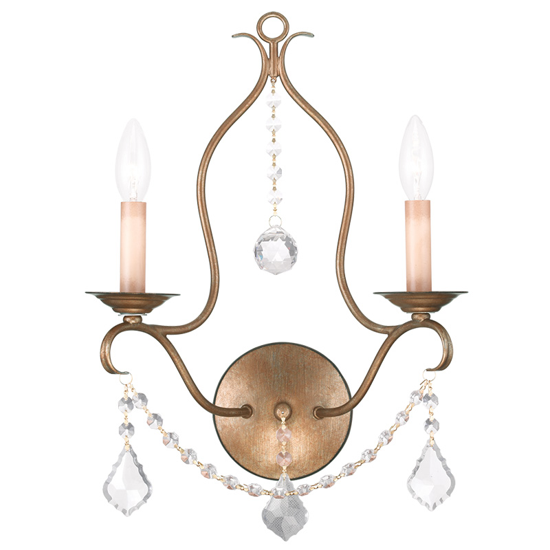 Antique Leaf Wall Sconces : Livex Lighting Chesterfield Wall Sconce Antique Gold Leaf 6422-48