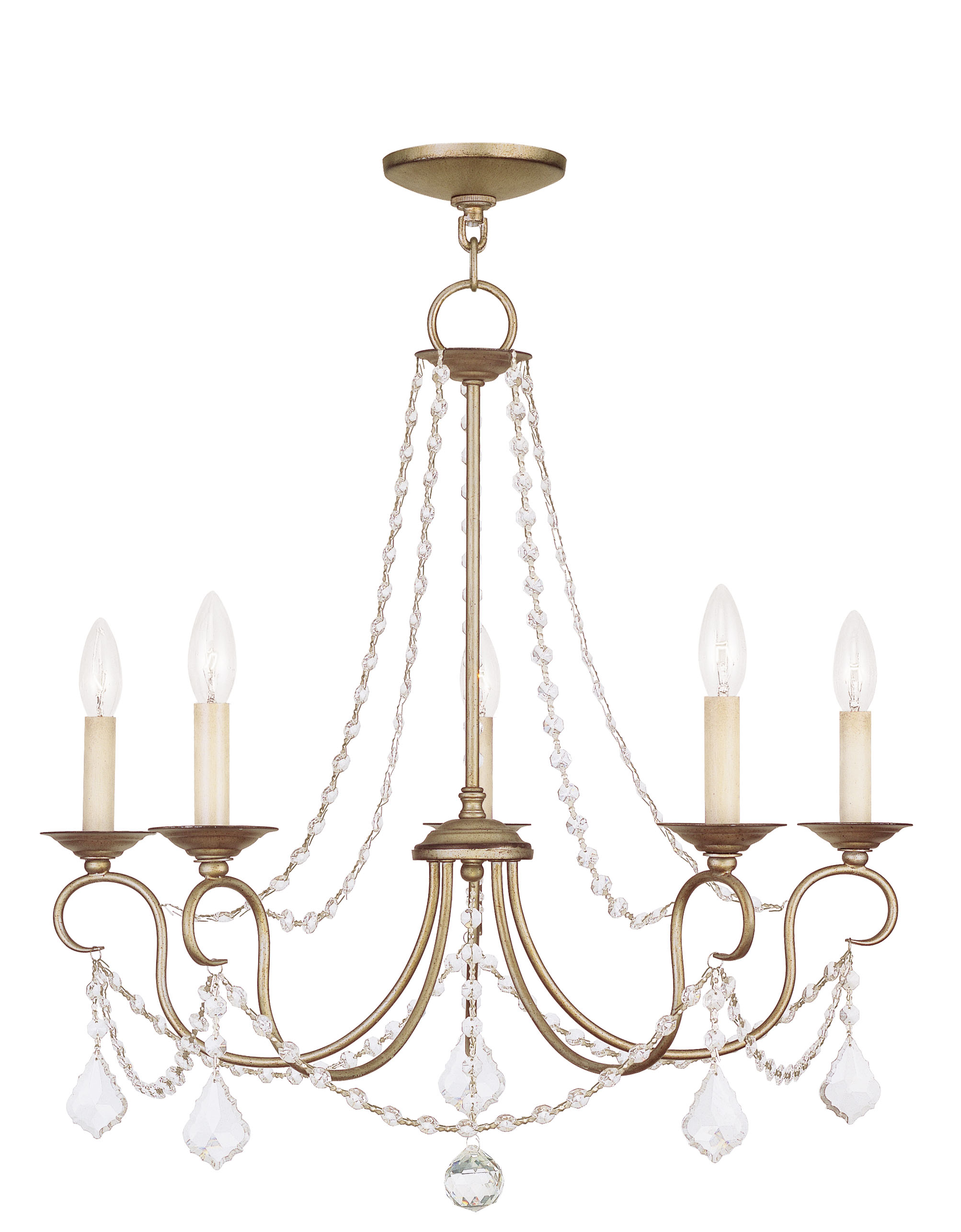 Livex Lighting Pennington Chandelier Hand Painted Antique Silver Leaf 6515-73