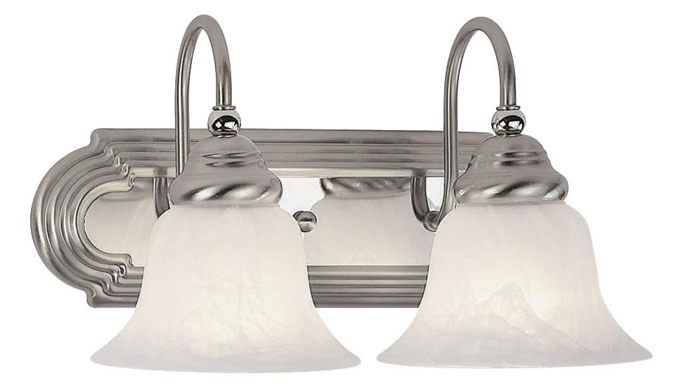 Brushed Nickel 2 Globe Vanity Bath Light Bar Interior: Livex Lighting Belmont Bath Light Brushed Nickel Finish