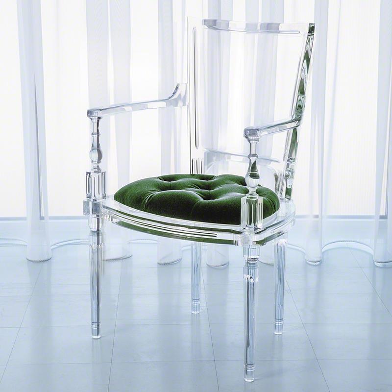 Global Views Acrylic Chair: Global Views Marilyn Acrylic Arm Chair Emerald Green