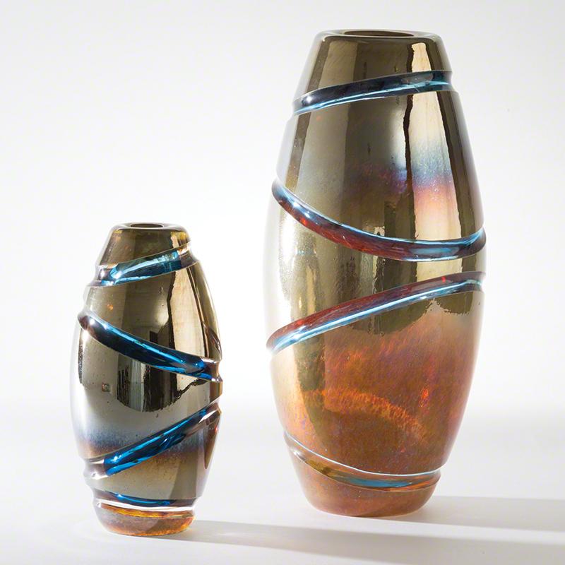 Global Views Vase: Global Views Cut Vase Blue Large