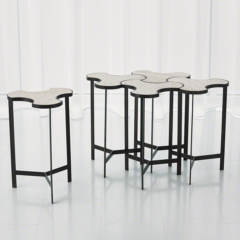 Abbey Jigsaw Bunching Table: Studio A Link Bunching Table Natural Iron With Travertine Top