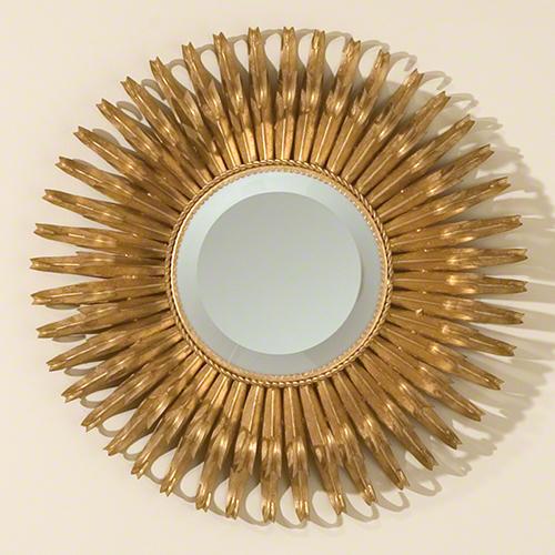 Global Views Sunburst Mirror Nickel: Global Views Small Round Gold Leaf Sunburst Mirror