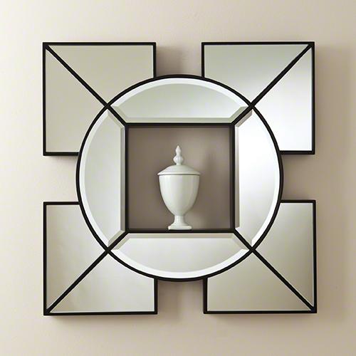 Global Views Arabesque Shadow Box Mirror Black