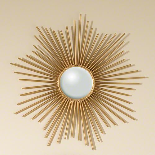Global Views Sunburst Mirror Nickel: Global Views Mini Sunburst Mirror-Gold
