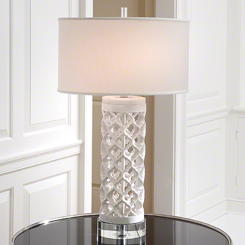 White Marble Arabesque Side Table: Global Views Round Arabesque Marble Lamp