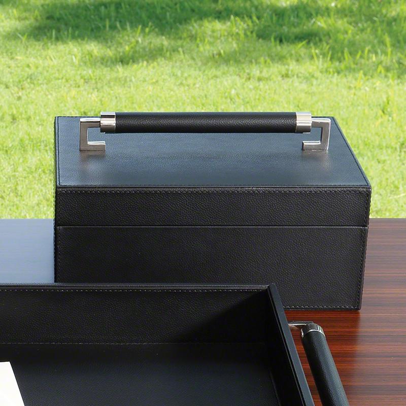 Global Views Box: Global Views Wrapped Leather Handle Box Black