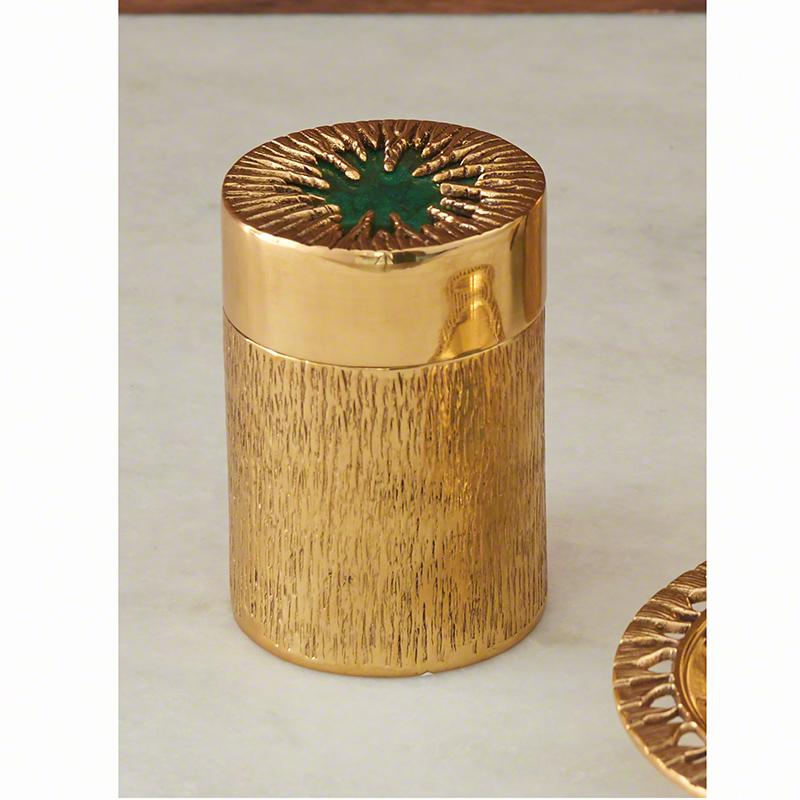Global Views Box: Global Views Crimped Box Brass Malachite Sm