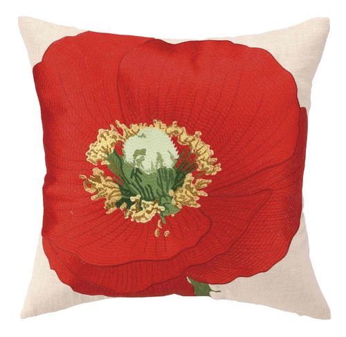 Red Poppy Decorative Pillow : Vivid Red Poppy Embroidered Pillow