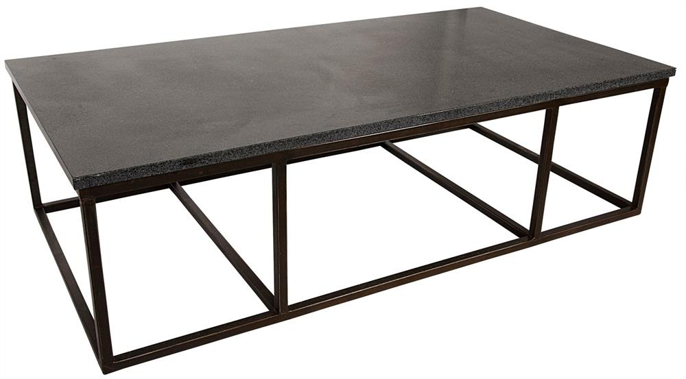 noir stone coffee table with metal large. Black Bedroom Furniture Sets. Home Design Ideas