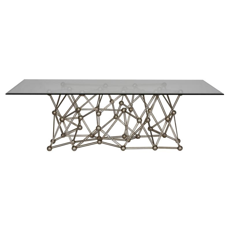 Worlds Away Silver Leaf Iron Coffee Table