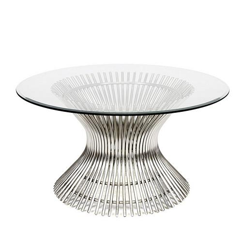 Worlds Away Powell Polished Stainless Coffee Table With Inch - 30 inch diameter coffee table