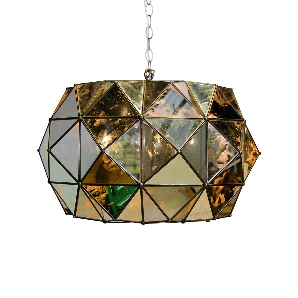 Worlds Away Rozz Tin And Antique Mirror Chandelier