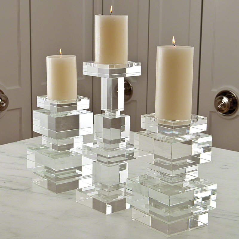 Global Views Brilliant Pillar Candle Holder Short
