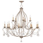 Livex Lighting Chesterfield Chandelier Hand Painted Antique Silver Leaf 6429-73