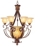 Livex Lighting Drake Chandelier Crackled Greek Bronze with Aged Gold Accents 8416-30