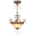Livex Lighting La Bella Convertible Chain Hang/Ceiling Mount Hand Painted Vintage Gold Leaf 8892-65