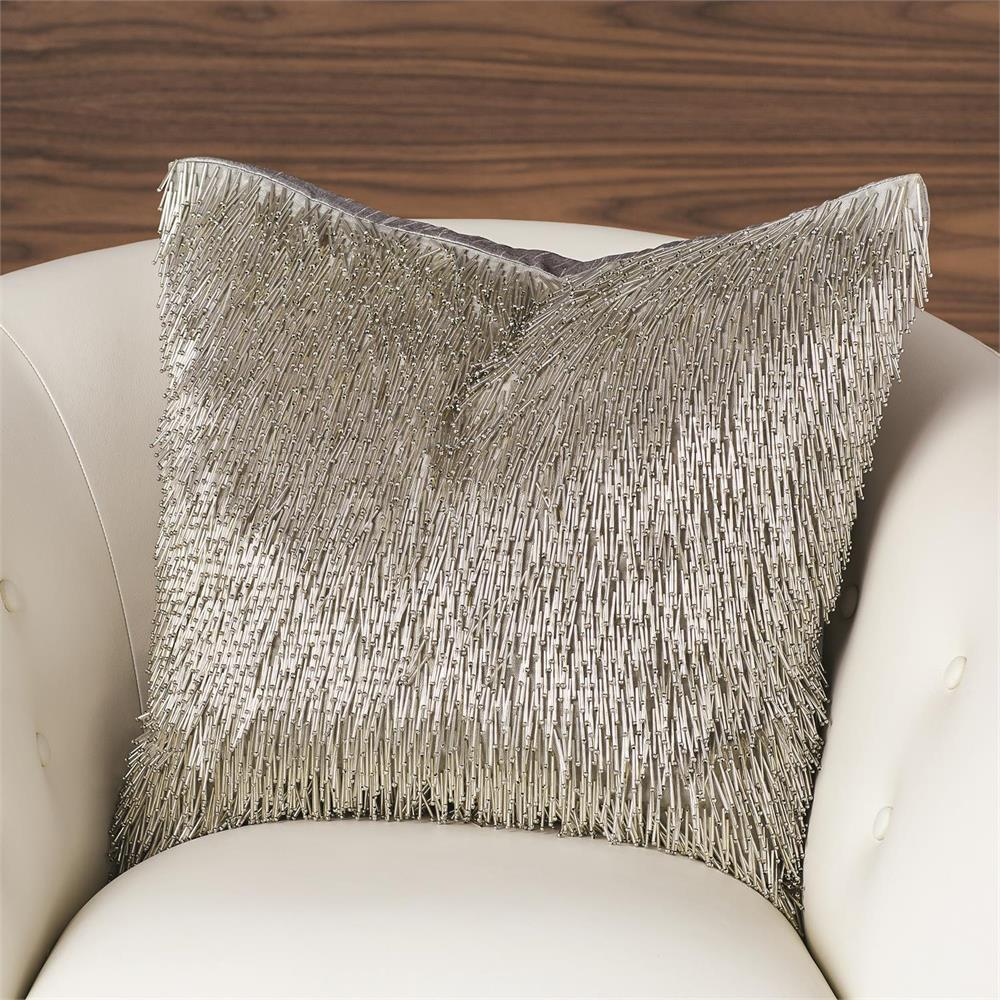 Global Views Shimmy Fringe Pillow Silver AS20.200003