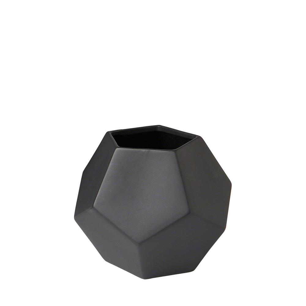 Global Views Faceted Vase Matte Black Medium