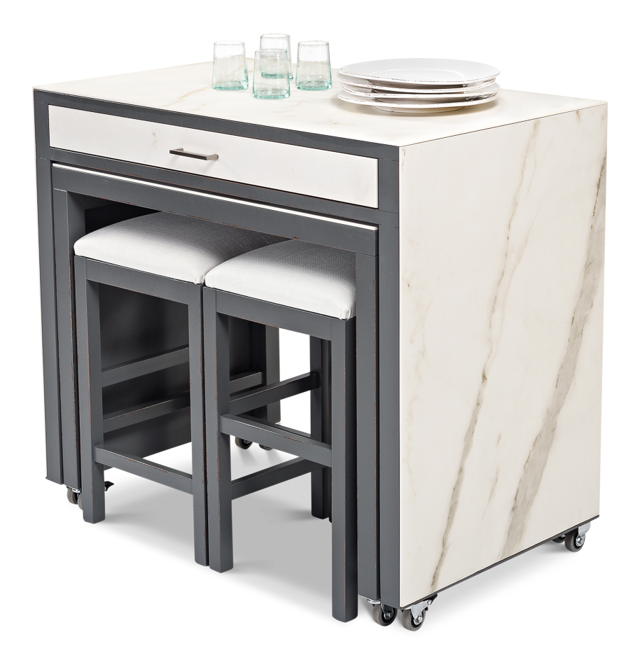 Sarreid Ltd Kitchen Island With Table Stools U189 As